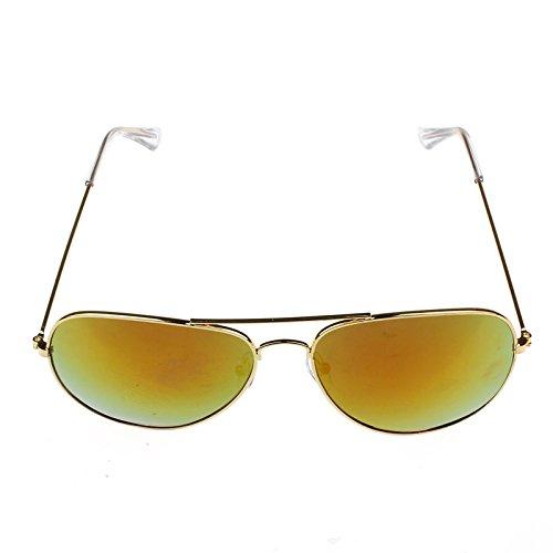 Lunettes De Soleil Covermason Armature en métal classique unisexe lunettes de soleil rétro femmes hommes (or + vert) jNO0N