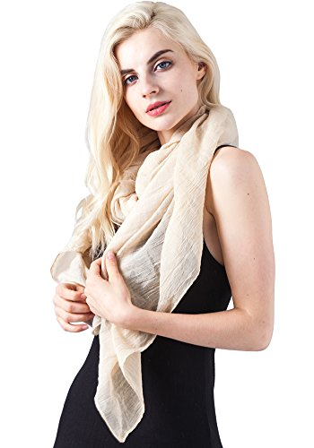 MissShorthair Womens Long Scarf in Solid Color Large Sheer Shawl Wraps for Evening(Beige)