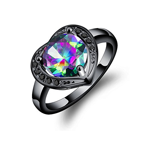 Fate Love Women White/Black Gold Created Mystic Rainbow Topaz Heart Ring Size ()