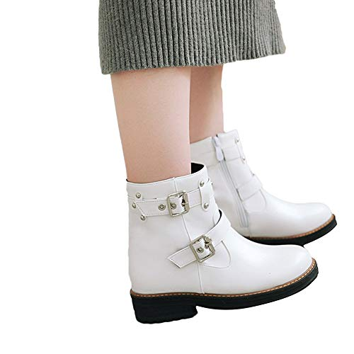 AgrinTol Women's Leisure Buckle Flat Leather Shoes Solid Color Short Tube Martin Boots