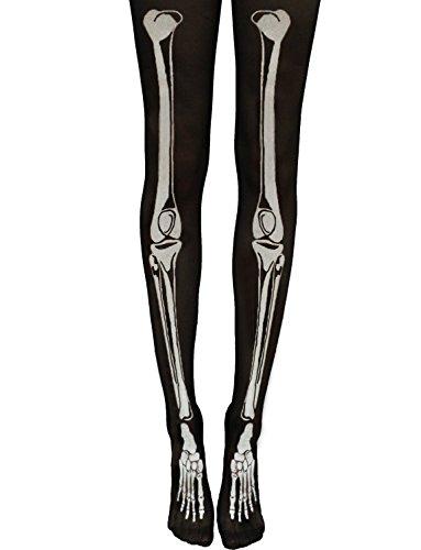 Skeleton Costumes Panty Hose (Yummy Bee Womens Tights Skeleton Bones Halloween Costume Black Pantyhose)