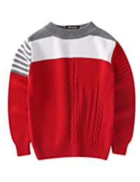 MFrannie Boys Stripe Contrasted Cable Knit Autumn Casual Sweater