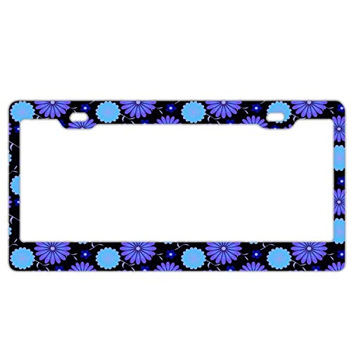 (YEX Abstract Blue Purple Daisy License Plate Frame Car Licence Plate Covers Auto Tag Holder 6