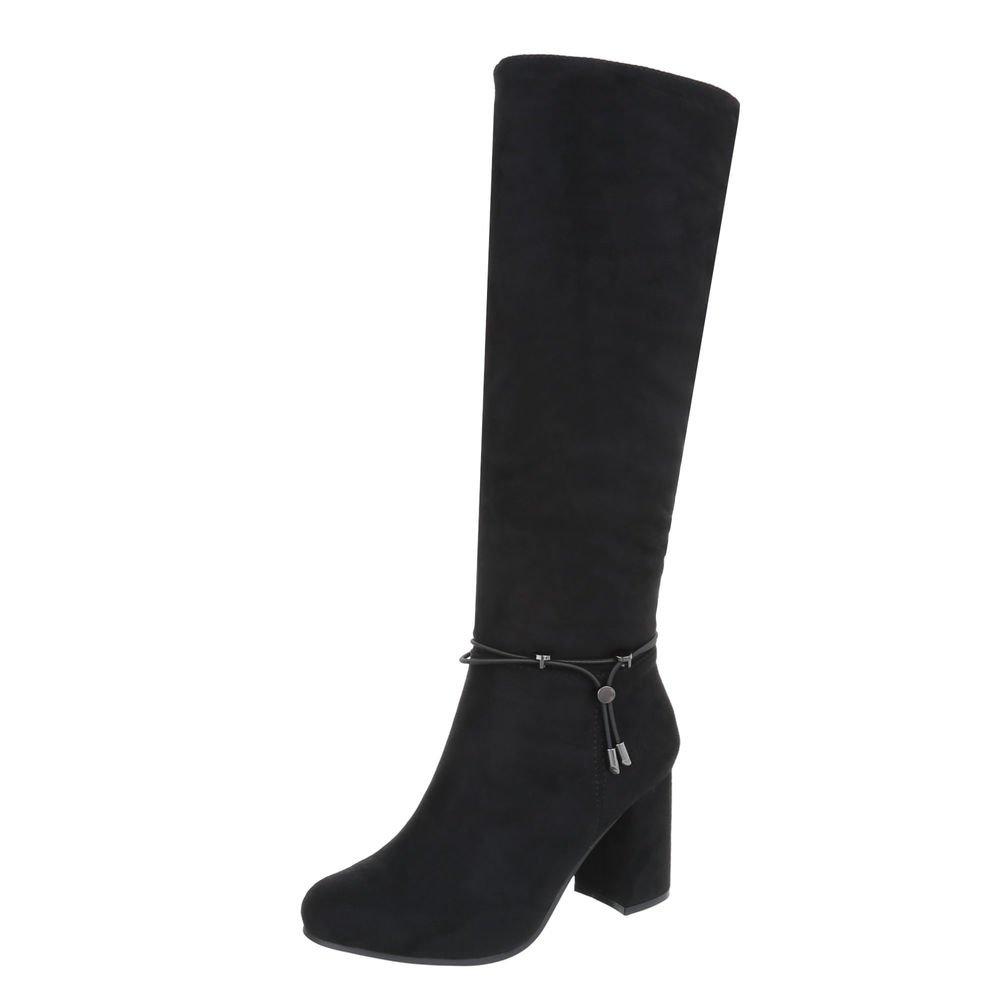 High Heel Stiefel Damenschuhe Klassischer Pump Heels Reißverschluss Ital-Design  36 EU|Schwarz