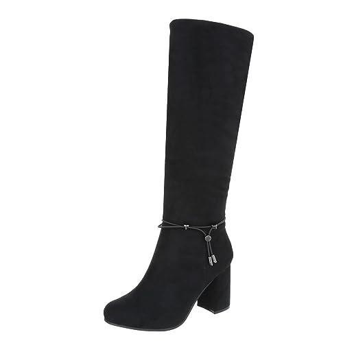 Klassische Stiefel Damenschuhe Klassische Stiefel Pump High Heels Reißverschluss Ital-Design Stiefel