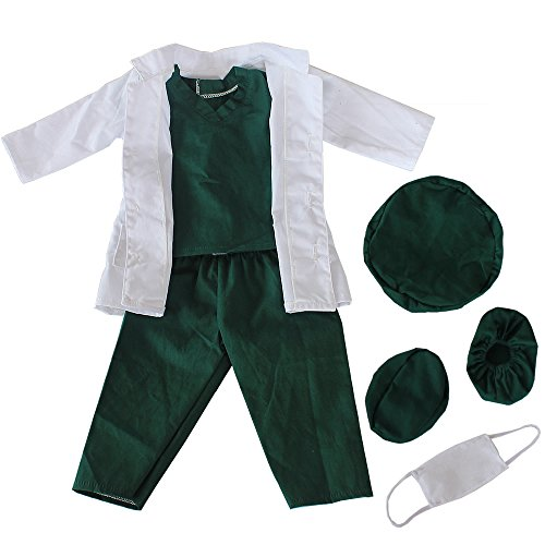 Baby Boys Girls Dolls Doctor or Nurse Clothes Outfits Fits 18'' American Girl Doll Logan Ourgeneration Doll | 18 Inch Doll Clothes- 5pcs White Doll Lab Coat Face Mask Shoes Covers, Cap, T-shirt,Pants