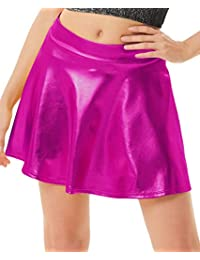 Kate Kasin Women's Mini Skirt Flared Wet Look Pleated Shiny Metallic Skater Skirt