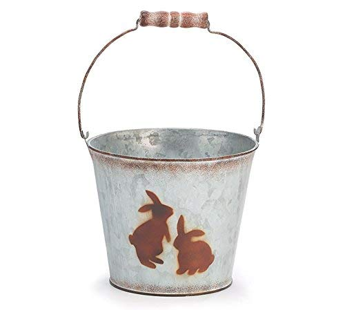 Burton and Burton Spring Naturals Galvanized Tin Pail with Hand Painted Easter Bunny Silhouettes - 6 Inch - PVC Liner Included]()