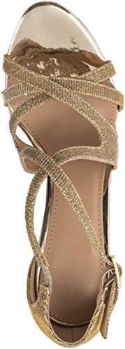 Elara Damen Pumps Spitz | Moderne High Heels | Bequeme Riemchen Stilettos | Chunkyrayan Gold
