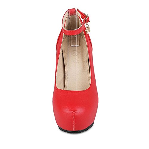 COOLCEPT Mujer Tacon Ancho Dulce Al Tobillo Skirts Bombas Zapatos Court Zapatos Extra Size Rojo