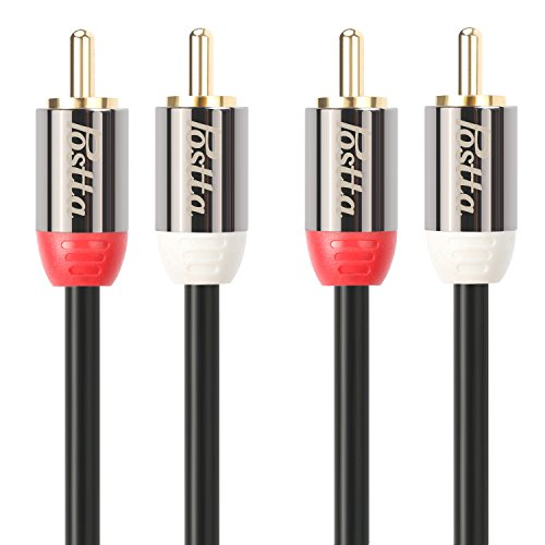 Postta 2RCA to 2RCA Stereo Audio Cable (3 Feet) Male to Male Gold Plated Dual Shielded 2RCA Cable -Black