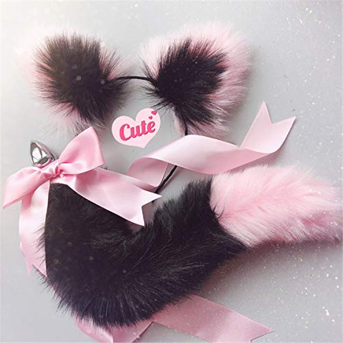 Women Viberate Toys Būtt Play Plug Women Toys Cute Soft Cat Ears Headbands with T-àil Bow Metal Būtt A-nàl Plug Erotic Cosplay Accessories Adult Happy Toys for Couples,White Black,T-Shirt by BJYC (Image #7)