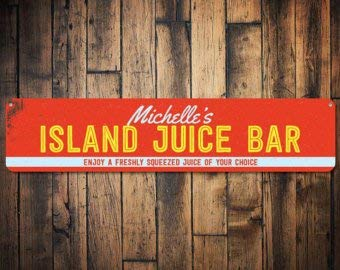 Juice Bar Led Sign - C B Signs L.E.D. Island Juice Bar Sign, Personalized Name Beach House Sign, Freshly Squeezed Juice Sign, Custom Beach Bar Decor - Quality Aluminum