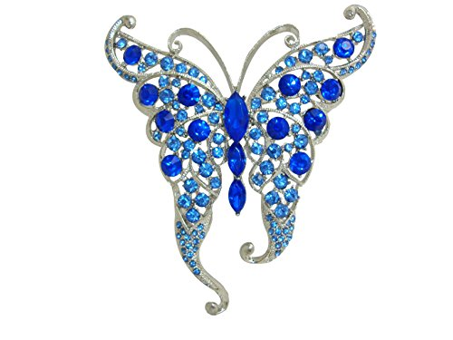 TTjewelry Silver-Tone Blue Butterfly Insect Brooch Pin Rhinestone Crystal (Silver Tone Butterfly Brooch Pin)