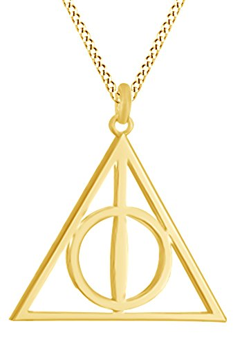 Harry Potter Deathly Hallow Symbol Pendant In 14K Yellow Gold Over Sterling Silver by AFFY