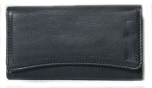 Genuine Lambskin Leather Ladies Wallet BLACK # 7296 ()