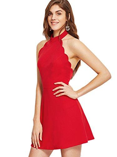 Red Scallop (Verdusa Women's Summer Elegant Halter Neck Backless Scallop Skater Mid Dress Red S)