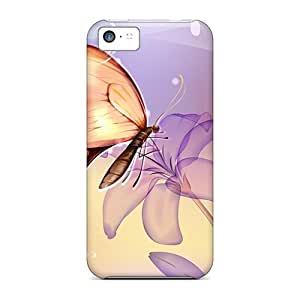 Excellent Iphone 5c Case Tpu Cover Back Skin Protector Flower Butterfly