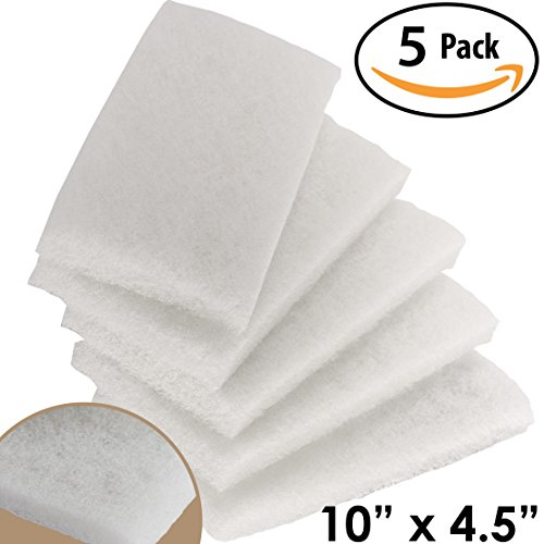 Commercial-Grade Non-Abrasive White Cleaning Pad 5 Pack By Mop Mob. Large, Multi-Purpose 10 in x 4 1/2 in Scouring Pad Fits Universal Holders. Great For Scrubbing Sinks, Tile, Windows and Fine China