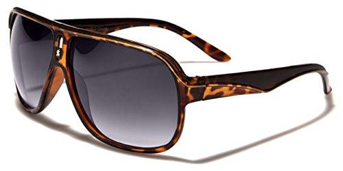 Khan Two Tone Flat Top Turbo Aviator Men's Retro 80s Fashion Vintage - Sunglasses 80s Ski