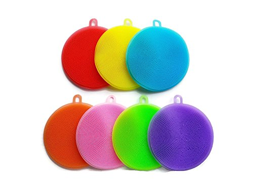 Silicone Sponge Dish Washing Brush Scrubber Food-Grade Antibacterial BPA Free Multipurpose Non Stick Cleaning Antimicrobial Mildew free smart kitchen gadgets (Pack of 7, Mixed Color) ()