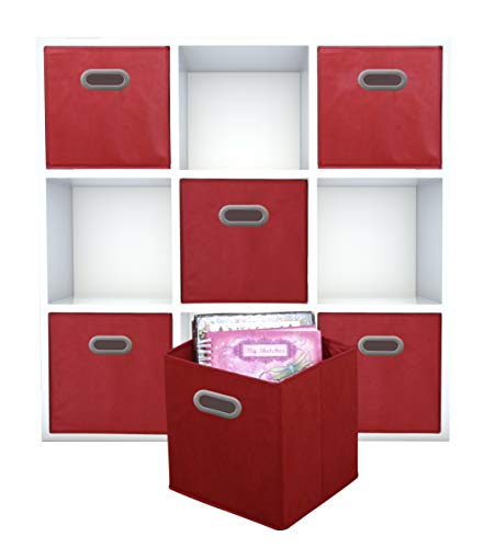 (Adorn Home Essentials| Dual Handle Foldable Cloth Storage Cube| Basket, Bins,Containers and Drawer Organizer| 6- Pack - Red)