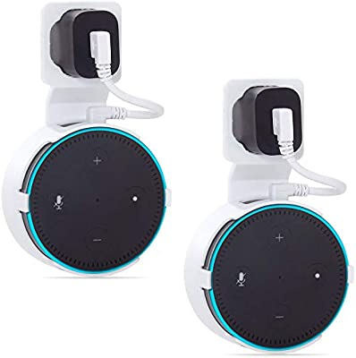 White 2 Pack AMM002-2W Outlet Wall Mount Stand for Echo Dot 3rd Gen Smart Home Assistants Hanger Holder Case Bracket Space Saving Perfect Accessories Without Messy Wires or Screws