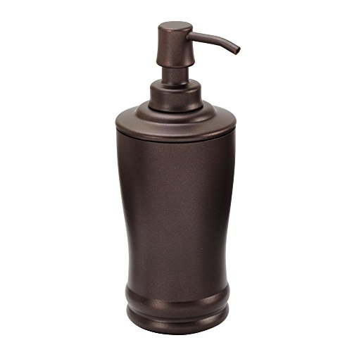 InterDesign Olivia Metal Tall Pump, Liquid Soap Dispenser Holds 8 Oz. for Bathroom, Kitchen Sink, Vanity, Bronze