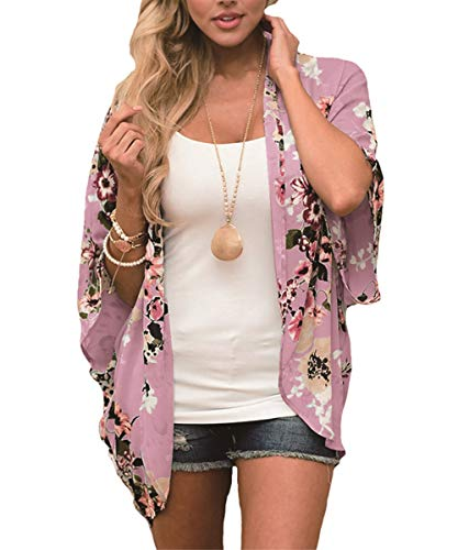 Women Floral Kimono Swimsuit Cover Ups Loose Half Sleeve Shawl Chiffon Casual Beach Cardigan Blouse(Pink-02 L)