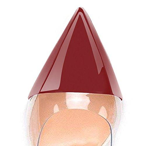 Le Spillo Bordeaux Umexi Del A Trasparente Tacchi Per Punta Da Scarpe Pompe Cerimonia Sera Pointede Donne Partito Nuziale gZwYfqxYH