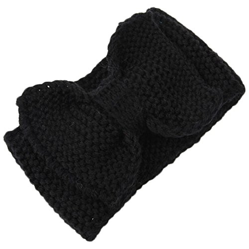 Baost Women Lady Crochet Bow Turban Knit Knitted Headband Headwrap Winter Hair Band Knitted Bow