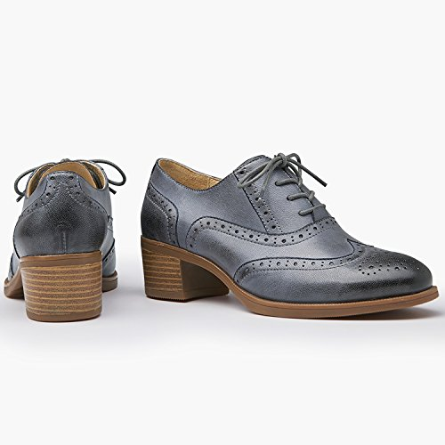 Odema Womens Skinn Oxfords Perforerade Spets-up Vingspetsarna Låg Klack Carving Brogue Finskor Oxfords Marinblå