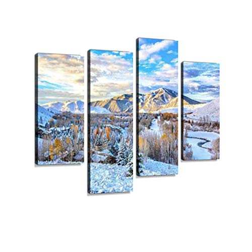 (First Snow - Sun Valley, Idaho Canvas Wall Art Hanging Paintings Modern Artwork Abstract Picture Prints Home Decoration Gift Unique Designed Framed 4 Panel)