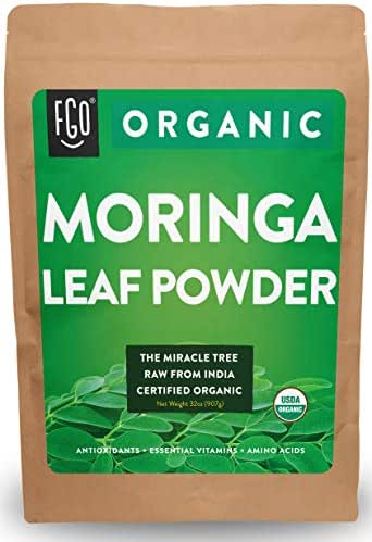 Organic Moringa Oleifera Leaf Powder | Perfect for Smoothies, Drinks, Tea & Recipes | 100% Raw From India | 32oz/907g Resealable Kraft Bag | by Feel Good Organics