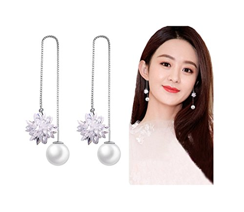 Earrings Flower Drop Crystal (Mintrayor Flower Crystal Threader Earrings Pearl Long Danling Earrings for Women Girls)