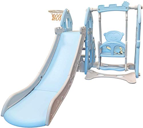 CozyBox 3 in 1 Climber and Swing Set for Toddlers Slide Playset with Basketball Hoop (Blue)