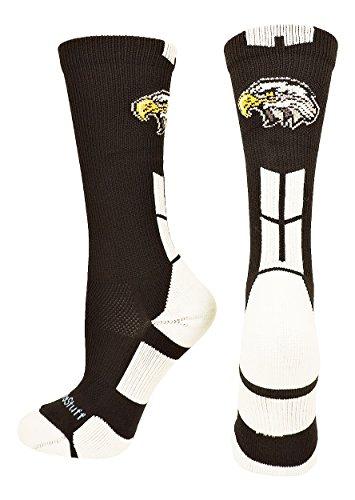MadSportsStuff Eagles Logo Athletic Crew Socks (Black/White, Small) by MadSportsStuff