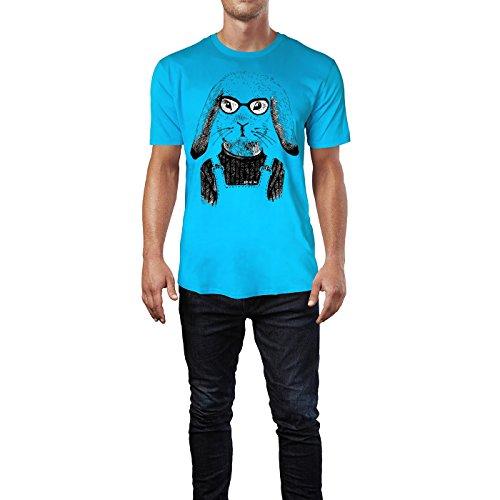 SINUS ART ® Hipster Fuchs mit Brille Herren T-Shirts in Karibik blau Cooles Fun Shirt mit tollen Aufdruck