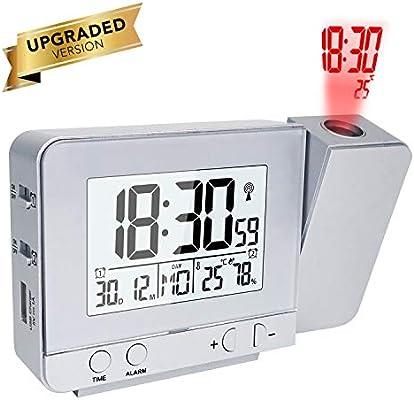 OurLeeme Relojes de Proyección, Despertador Proyector, Relojes de Alarma Proyección Alarma Dual, Función de Repetición, 12/24 Horas, Fecha, ...