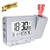 Projection Alarm Clock ALLOMN USB Charging Dual Alarms Clock with Snooze Function Projection