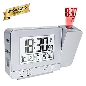 OurLeeme Reloj de proyección con Pantalla LED Reloj de Alarma Alimentado a batería con 2 alarmas, Temperatura Interior, Humedad para Uso en Interiores ...