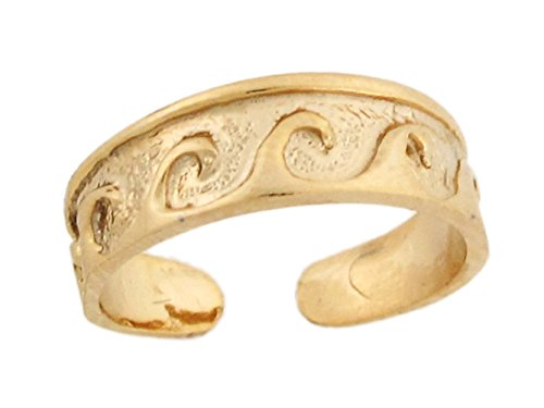 14k Yellow Real Gold Wave Band Designer Womens Toe Ring by Jewelry Liquidation (Image #1)