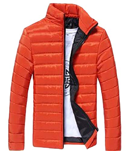 Warm Down Solid Mens Energy Parka Thick Stand Orange Sleeve Color Collar Zip Long xfZZEnv4