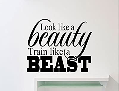 Ditooms Gym Wall Decal Look Like A Beauty Train Like A Beast Motivational Quote Fitness Vinyl Sticker Home Room Interior Art Decor Sport Mural