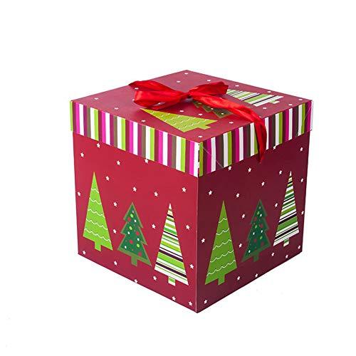 (Square Christmas Gift Box Santa Claus Xmas Tree Print Gift Box Cake Candy Box Party Favor Home Decoration Box (Red Xmas Tree, 5.9 inch))