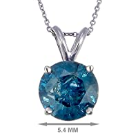 Vir Jewels 14K White Gold Blue Diamond Solitaire Pendant (3/4 CT) With Chain
