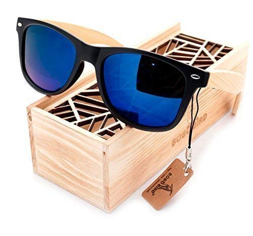 (Wood Sunglasses Polarized for Men and Women Lightweight Natural Bamboo Black Frame Summer Mirrored Choose Lens Color )