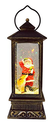 SPARKS Christmas Decorative Lanterns: Holiday Lighted Up Swirl Dome Snow Globe with Liquid Glitter. Christmas Lantern Snow Globe Santa Claus with Deer Home Christmas Decorations