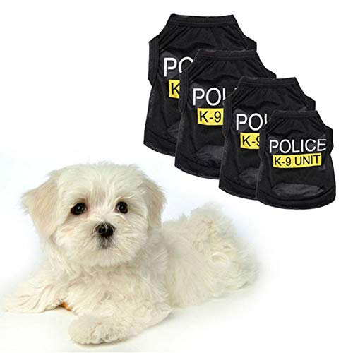 Pet Dog Puppy Vest T-Shirt Police Suit Cosplay Dog Costume Black -