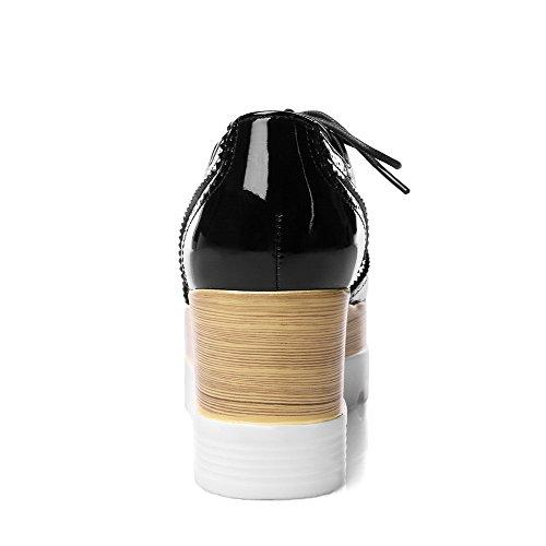 Delle Pompe Donne Pu Punta Chiusa Tacchi Ha shoes Solidi Sottolineato Up Lace Nero Amoonyfashion UwPq5U